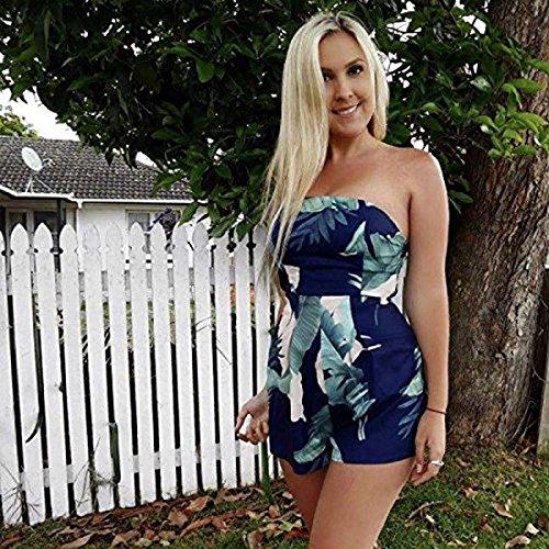Minetom Femmes Été Bustier Combishort Combinaison Jumpsuit Romper Chic Court Epaule Nu Bustier Sans Manches Casual Plage Bleu B