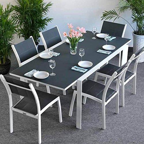 Table Janine et 6 chaises Lea - BLANC & GRIS | Table extensible 220cm pour l'intérieur et l'extérieur