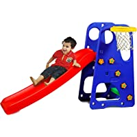 Webby Premium Foldable Baby Garden Slide with Adjustable Height, Basketball Ring for Kids
