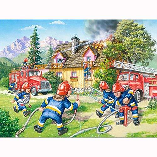 WALSITK 5D Diamant Malerei Kreuzstich Diamant Stickerei Cartoon Feuerwehrmann Volle Strass Dekoration 30x40 cm