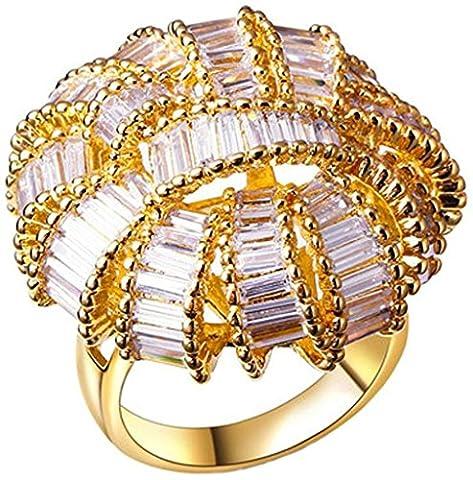 AnaZoz Bague Femme Mariage Élégant 18K Plaqué Or Corail Design