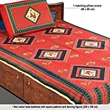 Aapno Rajasthan Red Base Square Patterned Single Bedsheet