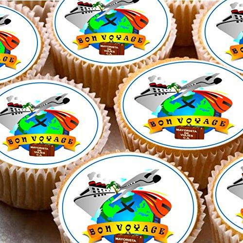 24Kuchen Topper 4cm auf Zuckerguss Cupcake Bilder–ND2Bon Voyage Reisen beweglichen Ausland