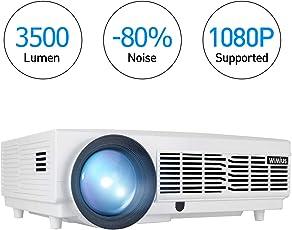 """3500 Lumens Beamer, 1080P HD 5.8"""" LCD Beamer mit 200"""" Bildschirm, WiMiUS LED Projeckot für Film Unterhaltung Spiele, 50000 Stunden, unterstützt HDMI VGA USB AV Micro SD Weiß (2018 Verbesserte Version)"""