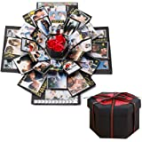 DXIA Explosion Box, Scrapbook Creative DIY Photo Album, Scatola Nera con Esplosione, Regalo Fai da Te, Album di Foto per Comp