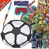 Amscan Pinata Set: * Fussball * mit Maske + Schläger + 100-teiliger Süßigkeiten-Füllung No.1 von Carpeta© // Handgefertigte spanische Pinata. Tolles Spiel für Kindergeburtstag oder Mottoparty