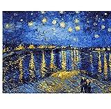 XIGZI Le Migliori Foto Fai da Te Pittura Digitale Dipinti By Numbers Compleanno di Natale Van Gogh Fiume Rodano Cielo Stellato 40X50 CM,con Cornice in Legno,B