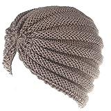 SSMENG Winter Hats Clearance, Women Winter Knit Warm Hat Ski Baggy Slouchy Beanie Skull Cap(Khaki,Free Size)