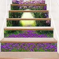 AZXC Stair Stickers Purple Flower Stair Sticker 3D Landscape Decorative Step Sticker Self-adhesive Wall Sticker (18 * 100cm),Purple