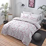NEW Duvet Cover Quilt Cover Bedding Set: Marble Grey / Pink All Sizes (Pink, Double)