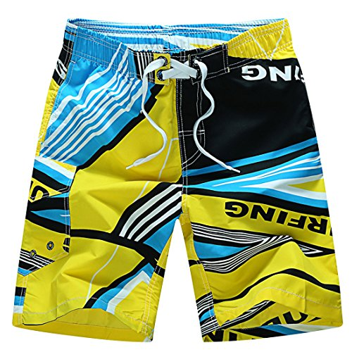 Herren Boardshorts Boardshorts Sommerhosen Strandshorts Hawaii Urlaub Shorts Männer Kurze Hosen (Gelb, XXL) (Hawaii-boardshorts)