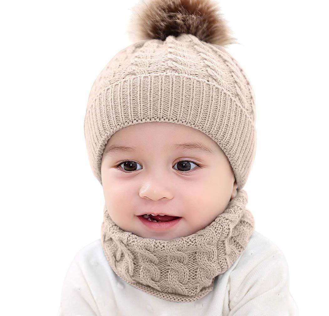 Lumsinker 2 Piezas Bebé De Punto Sombreros Conjunto de Bufanda Gorro Beanie 1