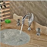 Gowe cromo lucido cigno bacino lavabo con manopole Deck Mount doppio manico miscelatore