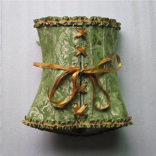 HLGO reizvolle Wäsche der Frauen schnüren sich oben Satin-entbeintes Korsett mit G-Schnur, 7 Farben, 9 Größe für Wahl Grün