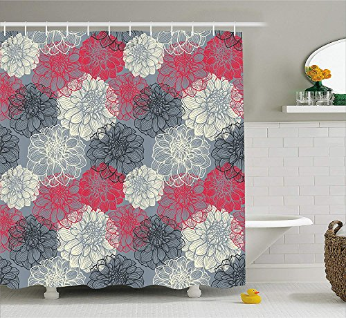 Dahlia Flower Decor Shower Curtain, Hand Drawn Repeating Big and Small Flowers Motif with Color Element Effects, Fabric Bathroom Decor Set with Hooks, 60x72 inches Extra Long, Grey Fuchsia