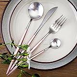 LEKOCH 4-pezzi 18/10 posate in acciaio inox tra cui forchetta cucchiaio coltello posate Set per 1 (rosa&argento)