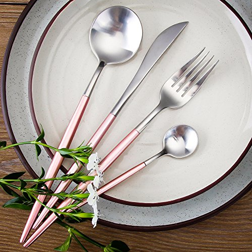 LEKOCH 4-Piece 18/10 Stainless Steel Flatware Including Fork Spoons Knife Cutlery Set for 1(Pink&Silver)