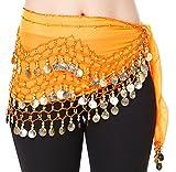 Höter - Sciarpa per la danza del ventre professionale / stola / cintura, 3 file di monete d'argento, colore: Arancione