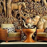 LHDLily Thaïlande L'Éléphant Style Yoga Danse Fond D'Hôtel Restaurant À Thème Rétro 3D Salon Chambre À Coucher Grande Murale 150cmX100cm