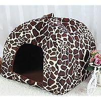 Topdo Casa para Mascotas con Cómodo Casa para Perros Perrera Gato Conejo Suave Mascotas Cama 1 Pieza Size L (Estampado de Leopardo)