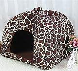 Wicemoon Faltbare Strawberry Hundebett Katzenbett Haustier Hundehütte Zwinger Winter Warm Halten,Leopard Stripe-XXL