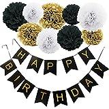 KUNGYO Happy Birthday Joyeux anniversaire Fête Bannière et Ensemble de 9 Papier de soie pompons Kit Fleurs pour Décorations de fête