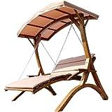 Design Hollywoodliege Doppelliege 'Aruba' aus Holz Lärche mit Dach von AS-S, Farbe:Macao