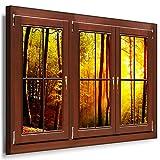 BOIKAL XXLF51-4 3D Effekt Bilder Fensterblick Deko Wandbild fertig gerahmt! Leinwand glanz! Kunstdruck Sonne Wald, Bäume