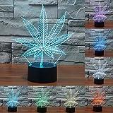 3D Maple Leaf Glühen LED Lampe 7 Farben erstaunliche optische Täuschung Art Skulptur Ferneinstellung Lichter produziert einzigartige Lichteffekte und 3D-Visualisierung für Home Decor-kreative Geschenk