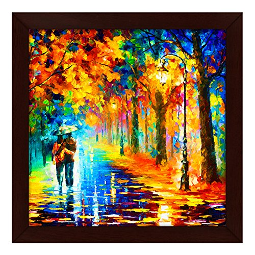 Story@Home Picture Perfect Love Couple with Umbrella Art Framed Wall Painting (Wood, 30 cm x 3 cm x 30 cm)