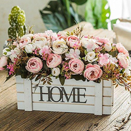 Jnseaol fiori artificiali con vaso incluso bagno da interno bouquet per esterno balcone decorazione di nozze di natale rosa rosa