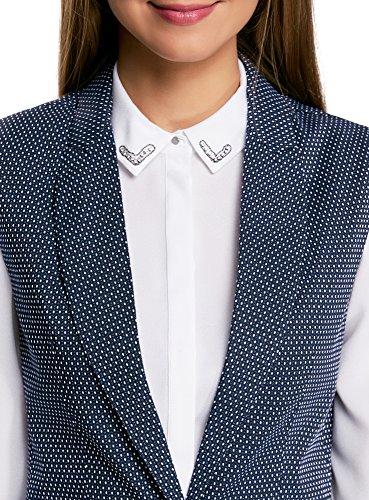 oodji Ultra Damen Klassische Weste aus Strukturiertem Stoff Blau (7912D)