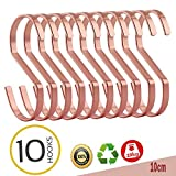 S Haken, Morbuy 10PCS Plattieren von Metall Haken S-förmige Anti-Rost Metall Kleider Kleiderbügel Metall Haken für Küche Badezimmer Schlafzimmer Verwenden (1 Sätze, Charmantes Roségold)