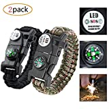 20-in-1 Paracord Survival Armband Maximale Tragfähigkeit 250kg, mit Multitool, Feuerstahl, SOS LED Light, Kompass, Signalpfeife, Minimesser, Thermometer, Pack of 2