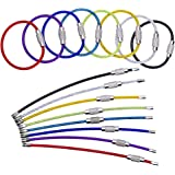 BETOY 40 pcs Porte-clés en Fil, Boucle Anneaux avec Joints en Acier Inoxydable, Porte-clés en Acier Inoxydable Multicolore, P