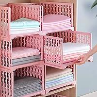HOMIXES 2 Pcs Armoire Empilable Tiroir Unités Organisateur Vêtements Placard Rangement Boîtes Étagères en Plastique…