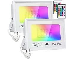 Olafus 2x 35W Projecteurs LED RGB Dimmable, Réglage Télécommande Mémorisée, 16 Couleurs 4 Modes, IP66 Étanche, Spot LED Coule