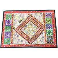 Mogul Interior Vintage Embroidered Multicolored Wall Hanging Patchwork Sari Tapestry(60x40inch)