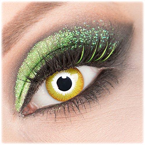 (Giftauge Farblinsen 1 Paar deckend gelb - weiß rot Crazy Fun Sunburst Kontaktlinsen ohne Stärke + Behälter von Giftauge. Perfekt zu Halloween, Karneval, Fasching, Fasnacht oder Cosplay, Manga und Zombie Kostüme.)