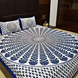 JAIPUR PRINTS Traditiona Soft Cotton Bedsheet Double with 2 Pillow Cover - Multi, King Size