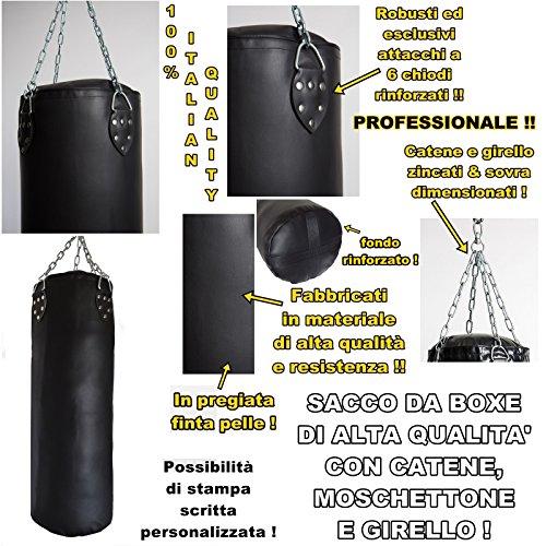 sacco boxe professionale pieno alta qualità 100{1daac5e45c91d48c1d2162111adc99718cd0d2fd332e8b39a89274deb81a60be} made in Italy (90 x 30 cm (20 kg))