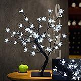 Bonsai Baum Licht Kirschblüten Tabellen Lampe, 0.45M / 1.5FT 48LED Flexible Zweige Baumlicht für Haus / Party / Hochzeit / Festival / Weihnachts Dekorationen (Kühles Weiß)