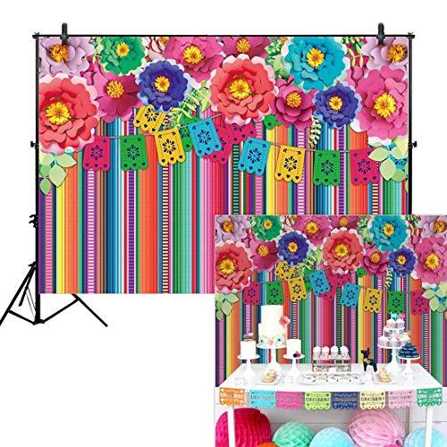 EdCott 10x8ft Vinyl mexikanischen Fiesta Thema Hintergrund Fotografie Festival Geburtstag Party Decor Cinco Mayo Karneval Bunte Fahnen Floral Banner Tisch Dekor Photo Studio Booth Requisiten liefert