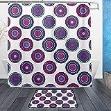ISAOA Runde Rutschfeste Badezimmermatte für den Innenbereich, 60 x 40 cm, wasserdicht, 183 x 183 cm, waschbarer Duschvorhang mit 12 Haken