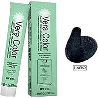 Vera Color, Nero 1, Tinta per Capelli, Colorazione Professionale Long Lasting in Crema Senza Ammoniaca con Cheratina…