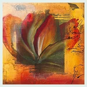 Bild mit Rahmen Gemma Leys - El Amor I - Digitaldruck - Holz silber, 60 x 60cm - Premiumqualität - Modern, Abstrakt, Abstrakte Malerei, Blume, Blüte, Rose, Blütenblätter, Schrift - MADE IN GERMANY - ART-GALERIE-SHOPde