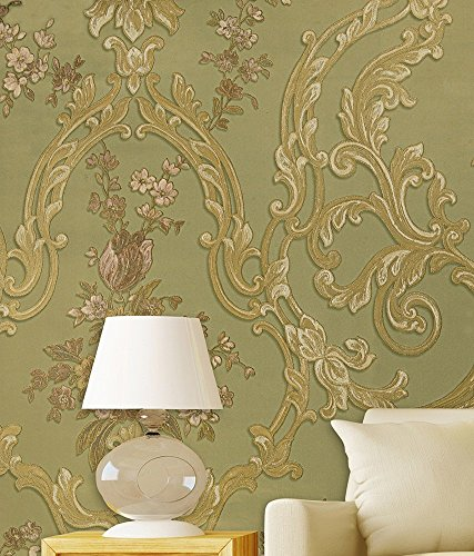 Wallpaper 4 Less Mehendi Green Floral-Italian Wallcovering-114 sq ft