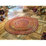Comercio justo grande 150cm redondo trenzado alfombra algodón yute multicolor alfombra Chindi