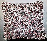 Kissenhülle/gehäkelte- Kissen/Häkelkissenhülle Kissenbezug/Zierkissenbezug/selbstgehäkelt aus Textilgarn/Cushion cover/even crocheted/UNIKAT/