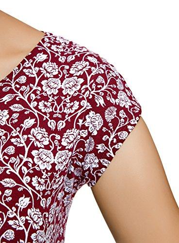 oodji Collection Damen T-Shirt mit Druck und Rundhalsausschnitt Rot (4910F)